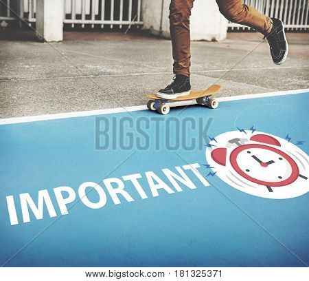 Skater boy rushing for important appointment with alarm clock illustration