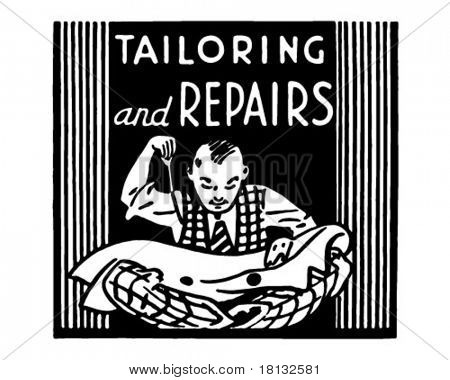 Tailoring And Repairs - Retro Ad Art Banner