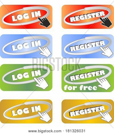 Set of web buttons for registration and login in four color variants