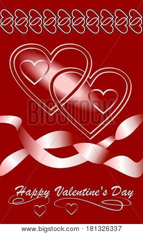 Valentine day background with hearts and ribbons in dark red design