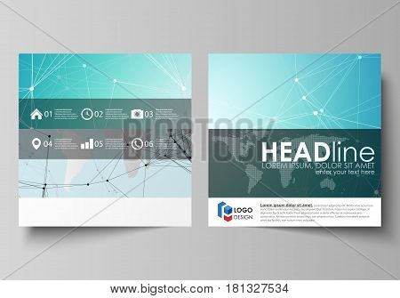 The minimalistic vector illustration of the editable layout of two square format covers design templates for brochure, flyer, booklet. Futuristic high tech background, dig data technology concept