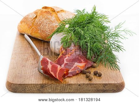 Rustic Still Life With Bacon, Bread, Garlic And Herbs