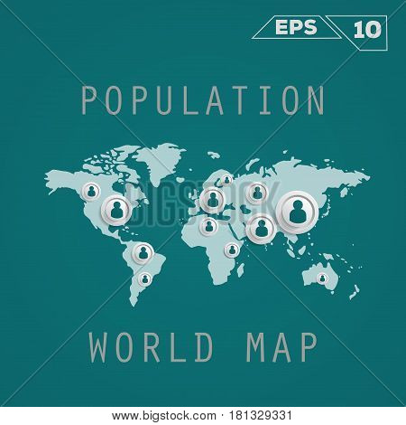 Population map. Vector template for presentation. Flat Design(for Logos Flyers Covers Posters Banner)