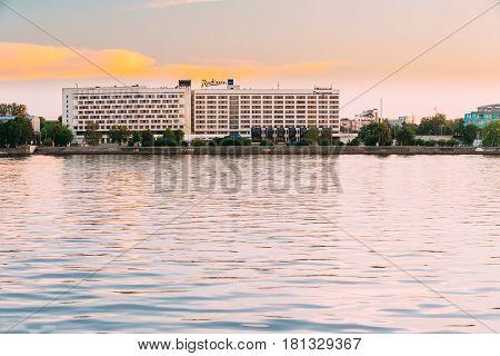 Riga Latvia - July 1,  2016: Radisson Blu Hotel At Evening Sunset Time At Bank Of Daugava River.