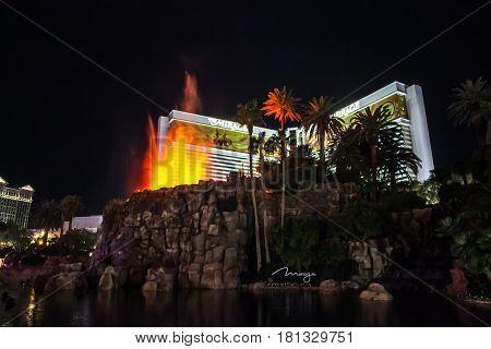 Las Vegas, Nevada USA 11.01.2012 The Mirage Hotel Volcano Eruption show in Las Vegas