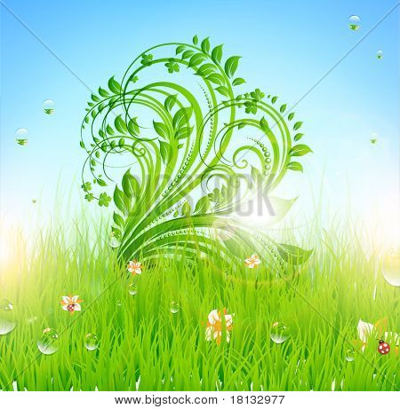 Summer vector grass wallpaper with flowers, ladybird, drops and sun shine. eps 10. poster