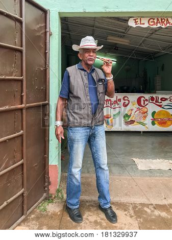 Man Smoking Cigar - Trinidad, Cuba