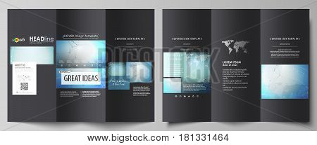 The black colored minimalistic vector illustration of the editable layout of two creative tri-fold brochure covers design templates. Chemistry pattern, connecting lines and dots. Medical concept