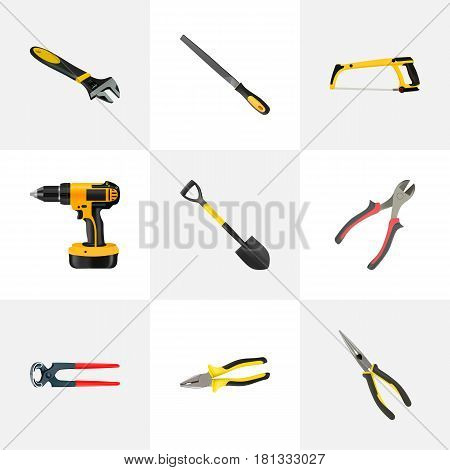 Realistic Nippers, Pliers, Electric Screwdriver And Other Vector Elements. Set Of Instruments Realistic Symbols Also Includes Electric Screwdriver, Instrument, Appliance Objects.