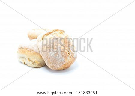 Mini Crusty Homemade Burger Bread Isolated In White Background