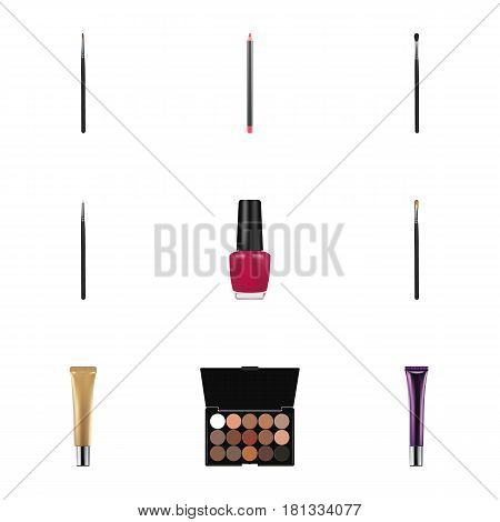 Realistic Mouth Pen, Cosmetic Stick, Collagen Tube And Other Vector Elements. Set Of Greasepaint Realistic Symbols Also Includes Blending, Eyeshadow, Polish Objects.
