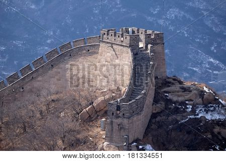 BADALING - FEBRUARY 24:  The Great Wall of China in Badaling, China, February 24, 2016.