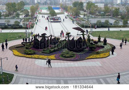 HANGZHOU - FEBRUARY 21: Park in Hangzhou view from Hangzhou East railway station in Hangzhou city, China, February 21, 2016.
