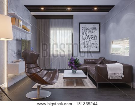 3d illustration of the interior design of the living room. The interior style of the apartment is modern in gray and white tones with accents of wood material. Room with a window and a view of the kitchen
