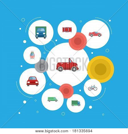 Flat Automotive, Lorry, Bicycle And Other Vector Elements. Set Of Auto Flat Symbols Also Includes Lorry, Freight, Truck Objects.