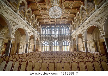 Famous marble hall of Chernivtsi University, Ukraine. Old decorative interior of architectural monument of UNESCO in Ukraine