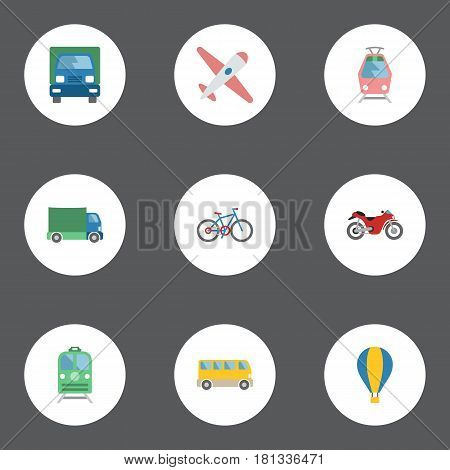 Flat Bicycle, Aircraft, Lorry And Other Vector Elements. Set Of Vehicle Flat Symbols Also Includes Train, Subway, Freight Objects.
