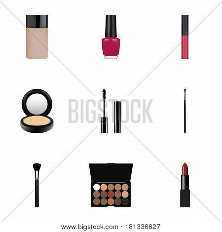 Realistic Fashion Equipment, Pomade, Varnish And Other Vector Elements. Set Of Greasepaint Realistic Symbols Also Includes Brow, Makeup, Liquid Objects.