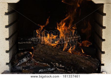 Firewood Burning Fire Flames On A Brazilian Churrasco