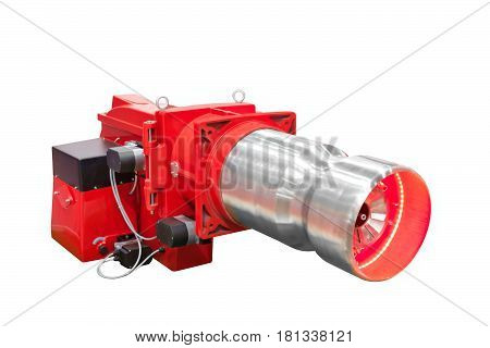 Modern hi-tech gas boiler industrial coppers isolated on white background