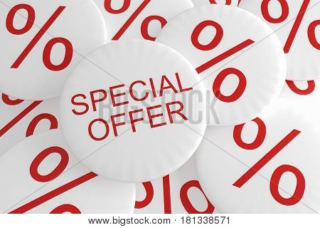 Shop Bargain Special Offer Badges: Pile of Percent Buttons With Special Offer Button 3d illustration