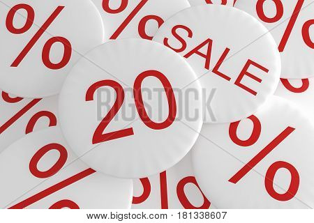Shop Bargain Special Offer Badges: 20% Sale 3d illustration