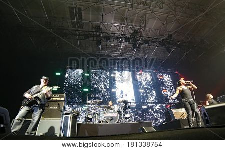 Padua Padova, Pd, Italy - March 29, 2017: Litfiba Italian Rock Band On The Stage During The Live Con