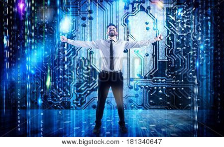 Businessman rejoices with futuristic background of microchip and Internet wiring