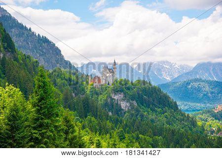Neuschwanstein castle in Bavarian alps, Germany. Famous landmark
