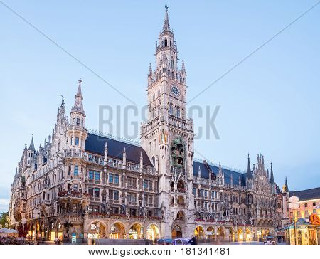 Munich, Germany - June 6, 2016: Munich Town Hall - Neue Rathaus on Marienplatz at night