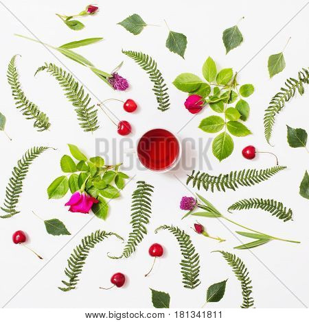 Red tea in a cup green blades of grass with purple flowers leaves birch twigs rose with red flowers green fern ripe cherries lie on a white background. Flat lay top view. Herbal decoction. Fern concept