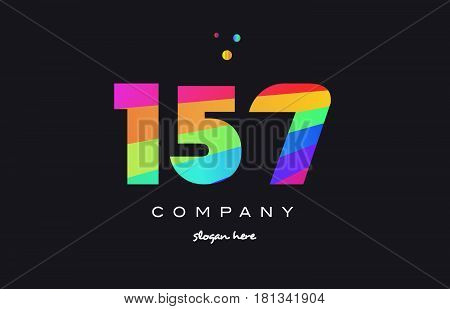157 Colored Rainbow Creative Number Digit Numeral Logo Icon