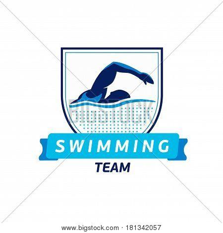 Vector swimming team logo. Swimmer silhouette in water. Creative badge. Triathlon concept. Flat design