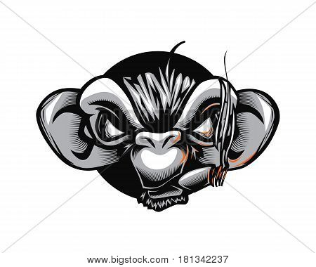 Cool Gangster Bad Monkey Chimp Catoon Caricature Smoker Vector Mascot