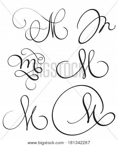 set of art calligraphy letter M with flourish of vintage decorative whorls. Vector illustration EPS10.
