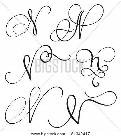 set of art calligraphy letter N with flourish of vintage decorative whorls. Vector illustration EPS10.