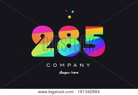 285 Colored Rainbow Creative Number Digit Numeral Logo Icon