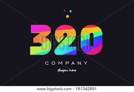 320 Colored Rainbow Creative Number Digit Numeral Logo Icon