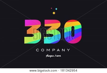 330 Colored Rainbow Creative Number Digit Numeral Logo Icon