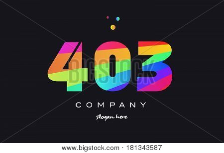 403 Colored Rainbow Creative Number Digit Numeral Logo Icon