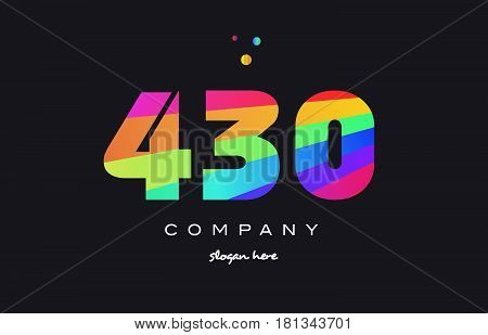 430 Colored Rainbow Creative Number Digit Numeral Logo Icon