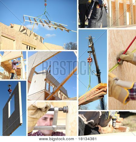 Collage che illustra la costruzione di una casa
