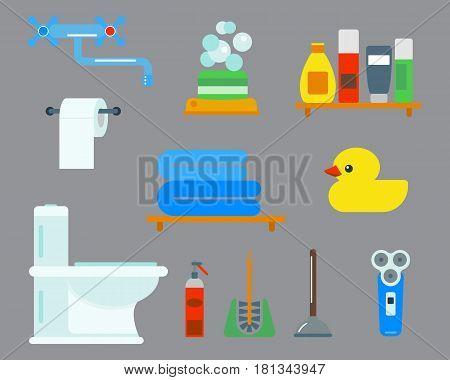 Bath equipment icons made in modern shower flat style colorful clip art illustration for bathroom interior hygiene design. Isolated vector symbols of mirror, toilet sink shower soap towel faucet.