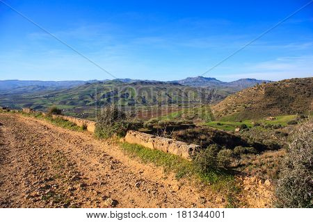 View of ancient road in the sicilian countryside