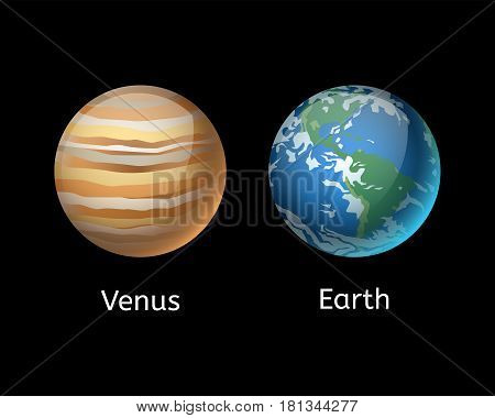 High quality venus planet galaxy astronomy and earth universe science globe cosmos orbit star vector illustration. Astrology planetary world exploration journey scientific surface.
