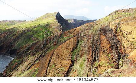 Beautiful lava mountain in Madeira island, Portugal