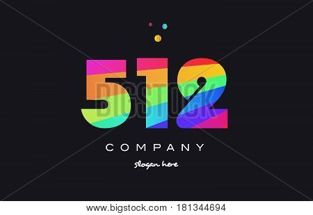 512 Colored Rainbow Creative Number Digit Numeral Logo Icon