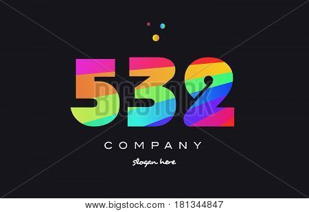 532 Colored Rainbow Creative Number Digit Numeral Logo Icon