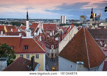 Morning View of Old city's roofs. Tallinn. Estonia