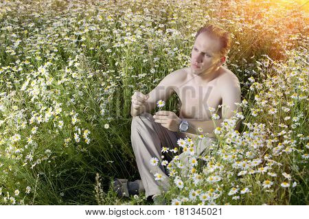 man sits in the field of camomiles guesses on a camomile